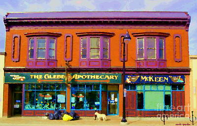Pharmacy Painting - The Glebe Apothecary Pharmacy And Mckeen Deli Bank Street Paintings Of Ottawa Scenes Carole Spandau  by Carole Spandau