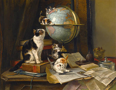 Henriette Ronner-knip Painting - The Globertrotters by Henriette Ronner-Knip