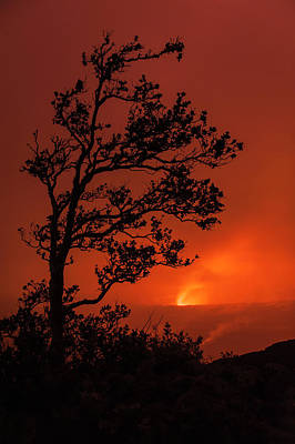 The Glow Of Pele Shines Through Clouds Print by Carl Johnson