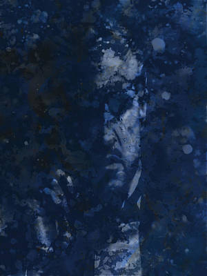 Sterling Hayden Digital Art - The Godfather Blue Splats by Brian Reaves