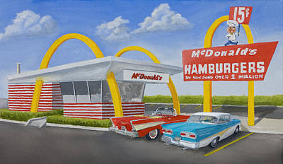 1958 Painting - The Golden Age Of The Golden Arches by Jerry McElroy