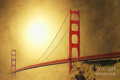 Architecture Mixed Media - The Golden Gate by Wingsdomain Art and Photography
