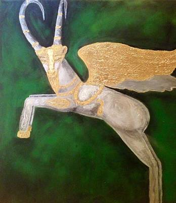 Louvre Mixed Media - The Golden Goat by Katy Shahandeh