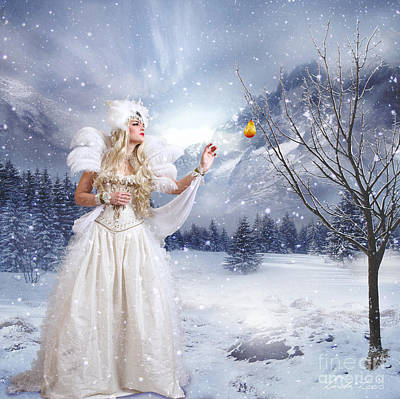 Snowy Digital Art - The Golden Pear by Linda Lees