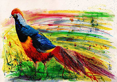 Pheasant Mixed Media - The Golden Pheasant by Isabel Salvador
