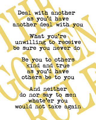 Quotation Digital Art - The Golden Rule by Flo Karp