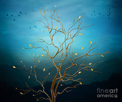 Good Luck Digital Art - The Golden Tree by Bedros Awak