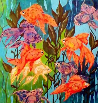 Representative Abstract Mixed Media - The Goldfish Pond by David Raderstorf