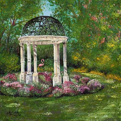 Mums Painting - The Governor's Gazebo by Margaret Bobb