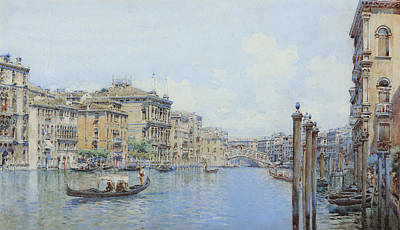 The Grand Canal With A View Of Palace Print by Gino de Colle