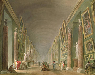 The Grand Gallery Of The Louvre Between 1801 And 1805 Oil On Canvas Print by Hubert Robert