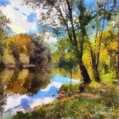 Michigan State Mixed Media - The Grand River In Autumn by J S