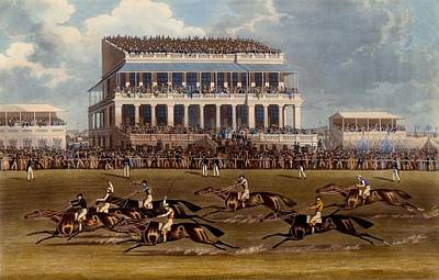 Jockey Drawing - The Grand Stand At Epsom Races, Print by James Pollard