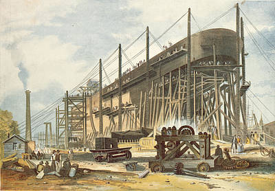 Machinery Photograph - The Great Eastern On The Stocks Colour Engraving by English School