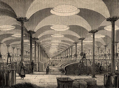 Cast Iron Drawing - The Great Hall Of Marshall's Flax Mill by English School