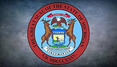 Wren Digital Art - The Great Seal Of The State Of Michigan  by Movie Poster Prints