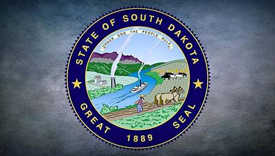 Natural Resources Digital Art - The Great Seal Of The State Of South Dakota by Movie Poster Prints