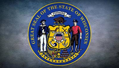 Coat Of Arms Digital Art - The Great Seal Of The State Of Wisconsin by Movie Poster Prints