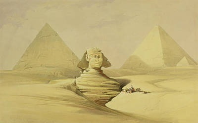 Desert Painting - The Great Sphinx And The Pyramids Of Giza by David Roberts