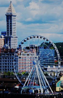 The Great Wheel Of Seattle Print by Marcus Dagan