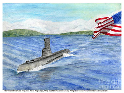 Navy Painting - The Greater Underwater Propulsion Power Program - Guppy               by Sarah Howland-Ludwig