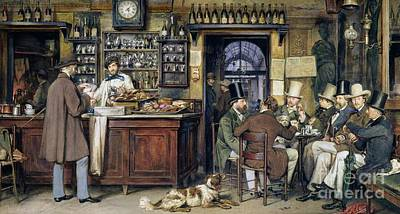 Counter Painting - The Greek Cafe In Rome by Ludwig Passini