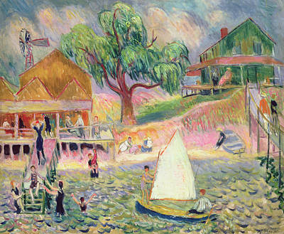 Summer Picnic Painting - The Green Beach Cottage by William James Glackens