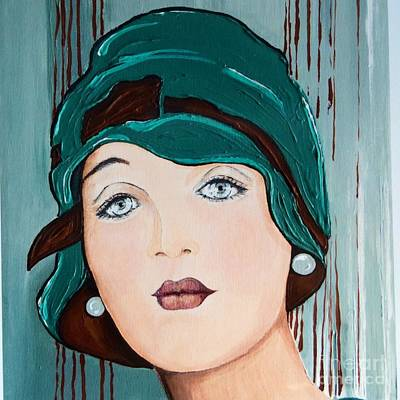 Alluring Painting - The Green Cloche by Barbara Chase