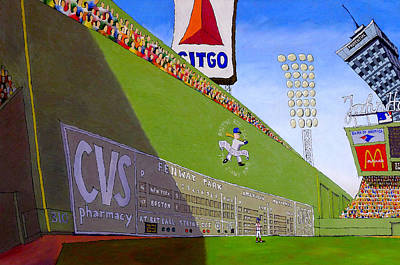 Fenway Park Painting - The Green Monster by Mike Gruber