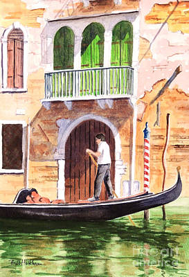 Light And Dark Painting - The Green Shutters - Venice by Bill Holkham