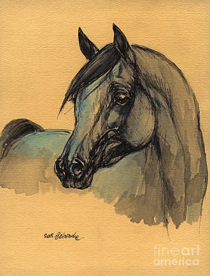 The Grey Arabian Horse 1 Print by Angel  Tarantella