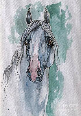 The Grey Arabian Horse 4 Print by Angel  Tarantella