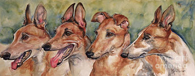 Greyhound Art Painting - The Greyhounds by Maria's Watercolor