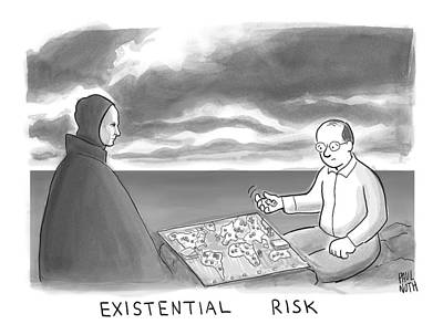Seventh Drawing - The Grim Reaper And A Man Play Existential Risk by Paul Noth