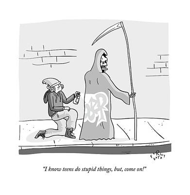 Teenagers Drawing - The Grim Reaper Speaks As A  Teenager Spray by Farley Katz