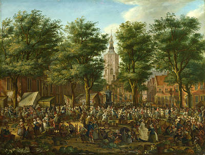 Paulus Constantijn La Fargue Painting - The Grote Markt At The Hague by Paulus Constantijn La Fargue