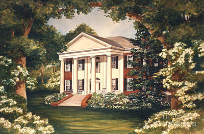Southern Plantation Painting - The Grove Tallahassee Florida by Audrey Peaty