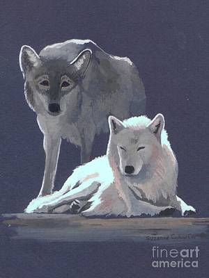 Wolf Watercolor Painting - The Guardian by Suzanne Schaefer