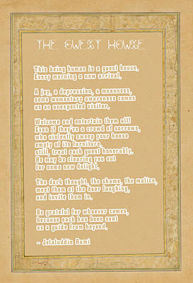 Islam Digital Art - The Guest House Poem By Rumi by Celestial Images