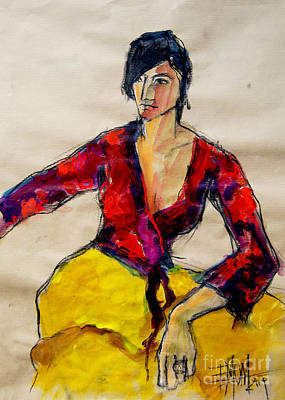 Charcoal Mixed Media - The Gypsy - Pia #2 - Figure Series by Mona Edulesco