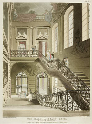 Microcosm Photograph - The Hall And Stair Case by British Library