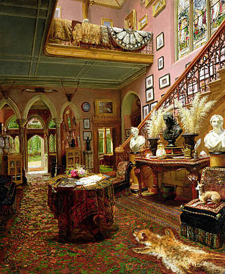 Bannister Painting - The Hall And Staircase Of A Country by Jonathan Pratt