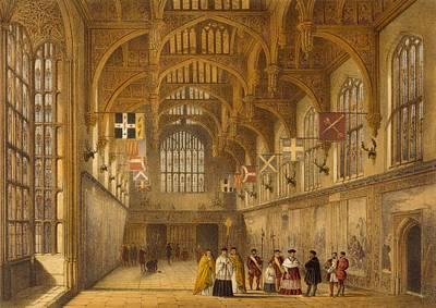 Hammer Drawing - The Hall, Hampton Court, C.1600 by Joseph Nash