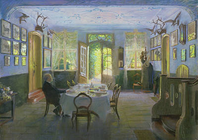 Contemplating Painting - The Hall Of The Manor House In Waltershof by Hans Olde