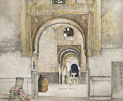 The Hall Of The Two Sisters Print by John Frederick Lewis