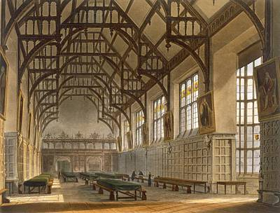 Panel Drawing - The Hall Of Trinity College, Cambridge by Augustus Charles Pugin