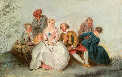 Jean-baptiste Pater Painting - The Happy Lovers by Jean-Baptiste Pater