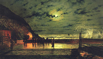 Spray Painting - The Harbour Flare by John Atkinson Grimshaw