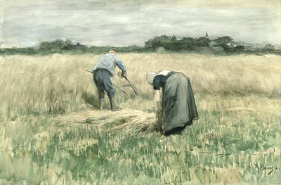 Agriculture Drawing - The Harvest by Anton Mauve