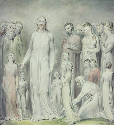 Blake Drawing - The Healing Of The Woman With An Issue Of Blood by William Blake